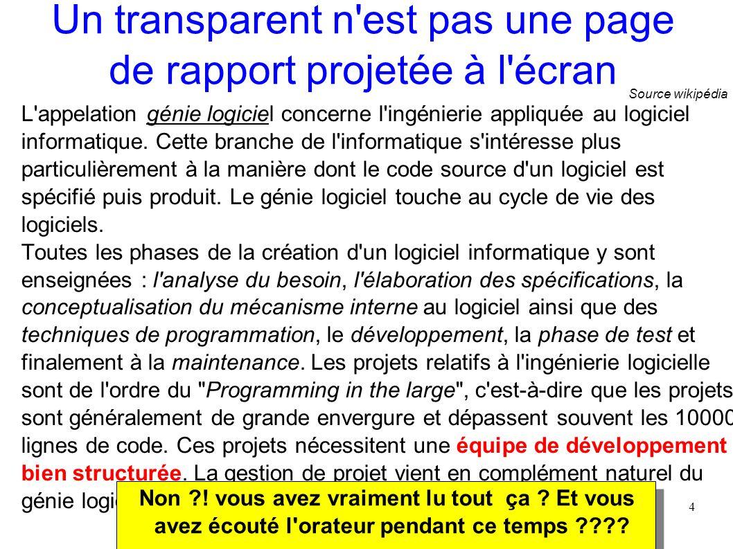 4 Un transparent n'est pas une page de rapport projetée à l'écran L'appelation génie logiciel concerne l'ingénierie appliquée au logiciel informatique