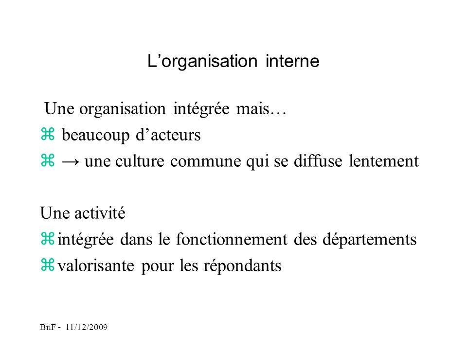 BnF - 11/12/2009 Lorganisation interne Une organisation intégrée mais… z beaucoup dacteurs z une culture commune qui se diffuse lentement Une activité zintégrée dans le fonctionnement des départements zvalorisante pour les répondants
