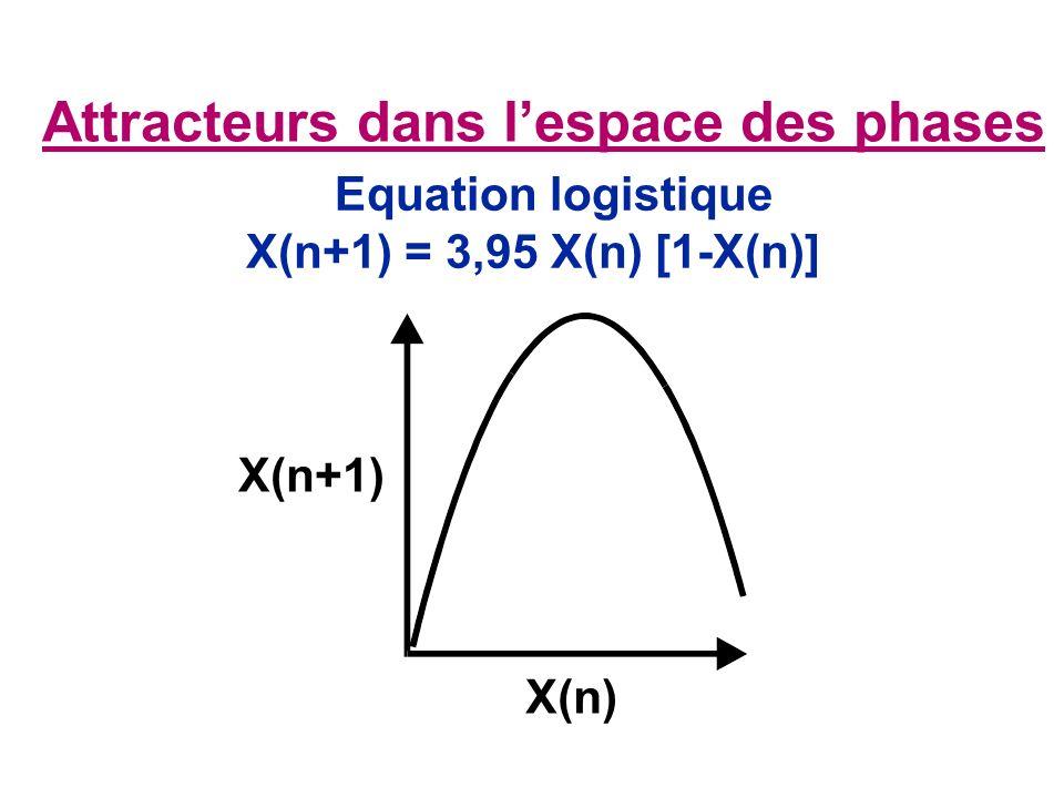 Attracteurs dans lespace des phases Equation logistique X(n+1) X(n) X(n+1) = 3,95 X(n) [1-X(n)]