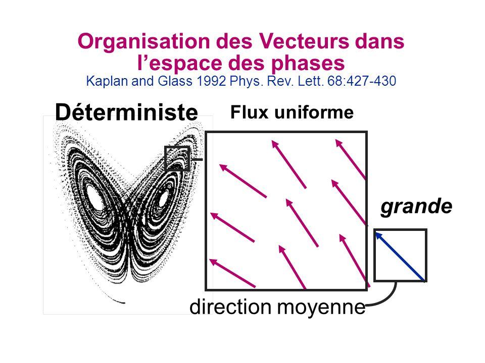 Organisation des Vecteurs dans lespace des phases Kaplan and Glass 1992 Phys. Rev. Lett. 68:427-430 grande Déterministe direction moyenne Flux uniform