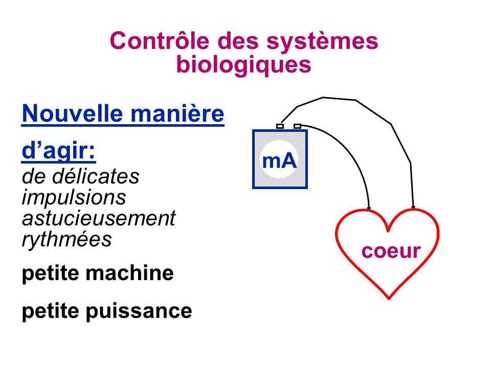 Contrôle des systèmes biologiques Nouvelle manière dagir: de délicates impulsions astucieusement rythmées petite machine petite puissance mA coeur