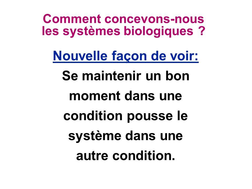 Comment concevons-nous les systèmes biologiques ? Nouvelle façon de voir: Se maintenir un bon moment dans une condition pousse le système dans une aut