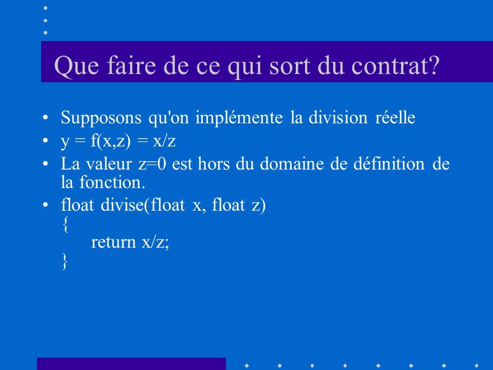 Que faire de ce qui sort du contrat? Supposons qu'on implémente la division réelle y = f(x,z) = x/z La valeur z=0 est hors du domaine de définition de