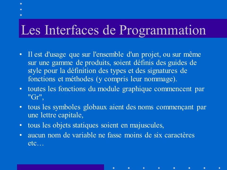 Les Interfaces de Programmation Il est d'usage que sur l'ensemble d'un projet, ou sur même sur une gamme de produits, soient définis des guides de sty