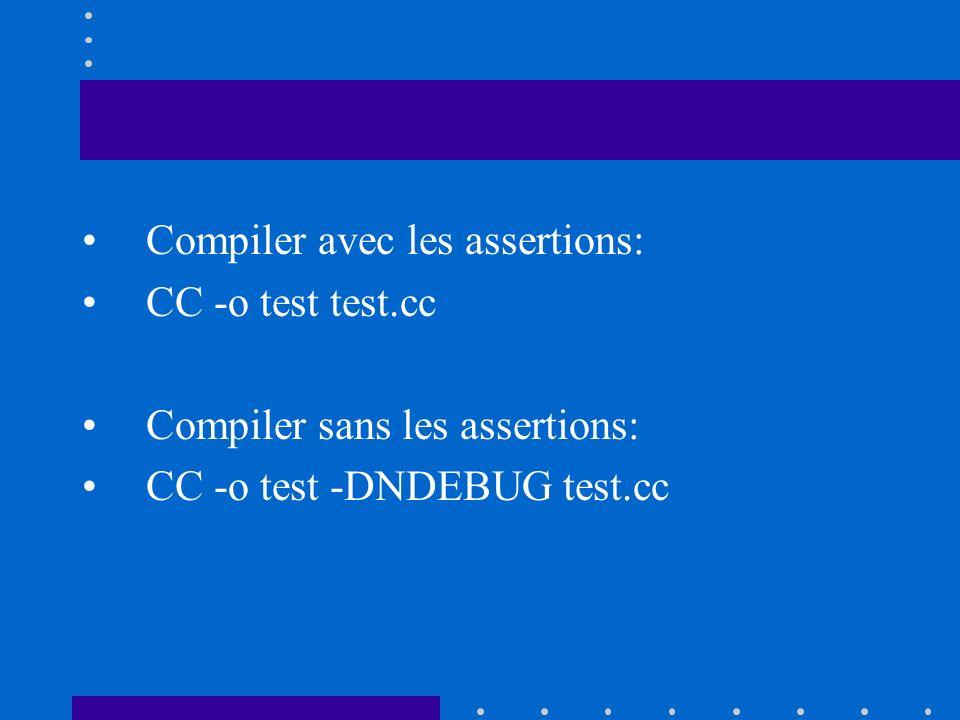 Compiler avec les assertions: CC -o test test.cc Compiler sans les assertions: CC -o test -DNDEBUG test.cc