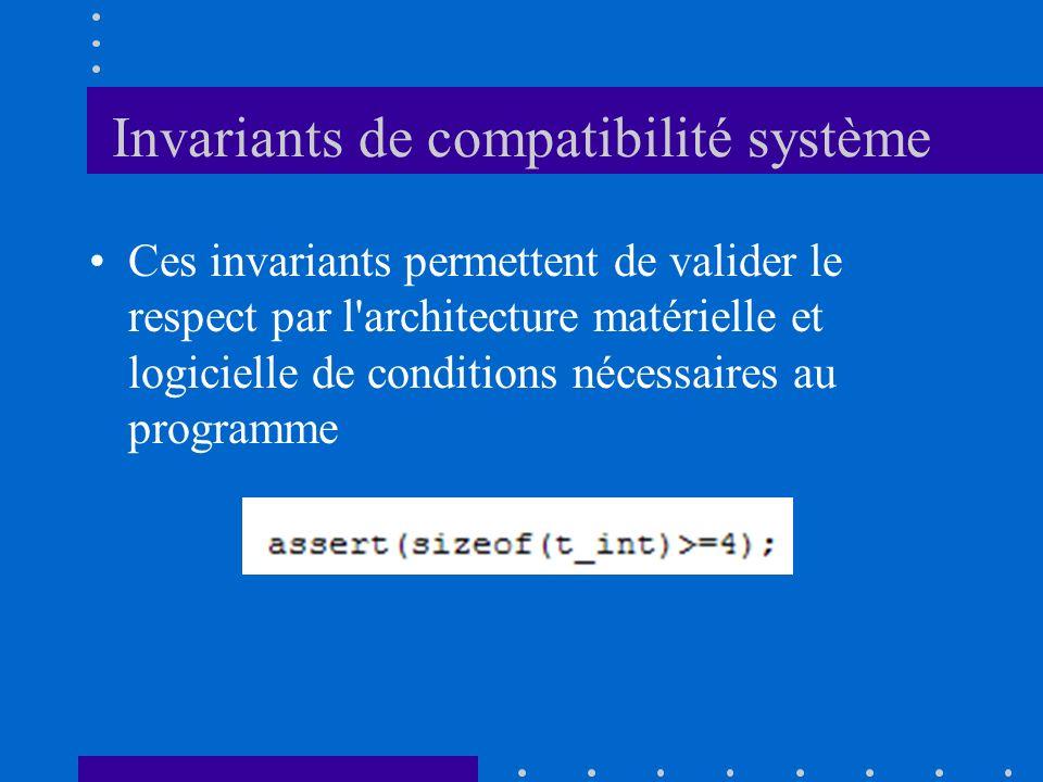 Invariants de compatibilité système Ces invariants permettent de valider le respect par l'architecture matérielle et logicielle de conditions nécessai