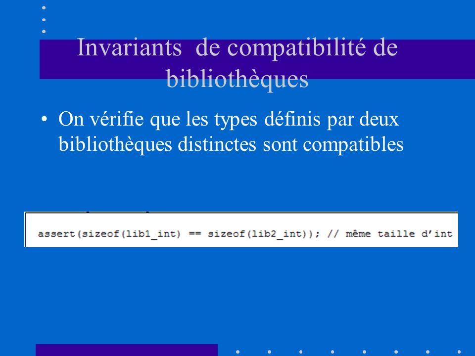 Invariants de compatibilité de bibliothèques On vérifie que les types définis par deux bibliothèques distinctes sont compatibles