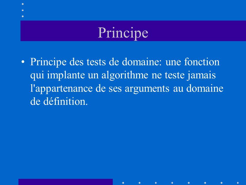 Principe Principe des tests de domaine: une fonction qui implante un algorithme ne teste jamais l'appartenance de ses arguments au domaine de définiti
