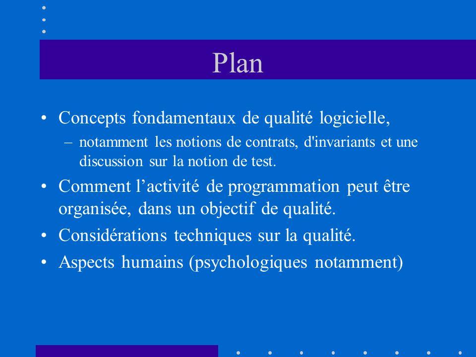 Plan Concepts fondamentaux de qualité logicielle, –notamment les notions de contrats, d'invariants et une discussion sur la notion de test. Comment la