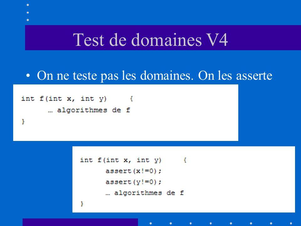 Test de domaines V4 On ne teste pas les domaines. On les asserte