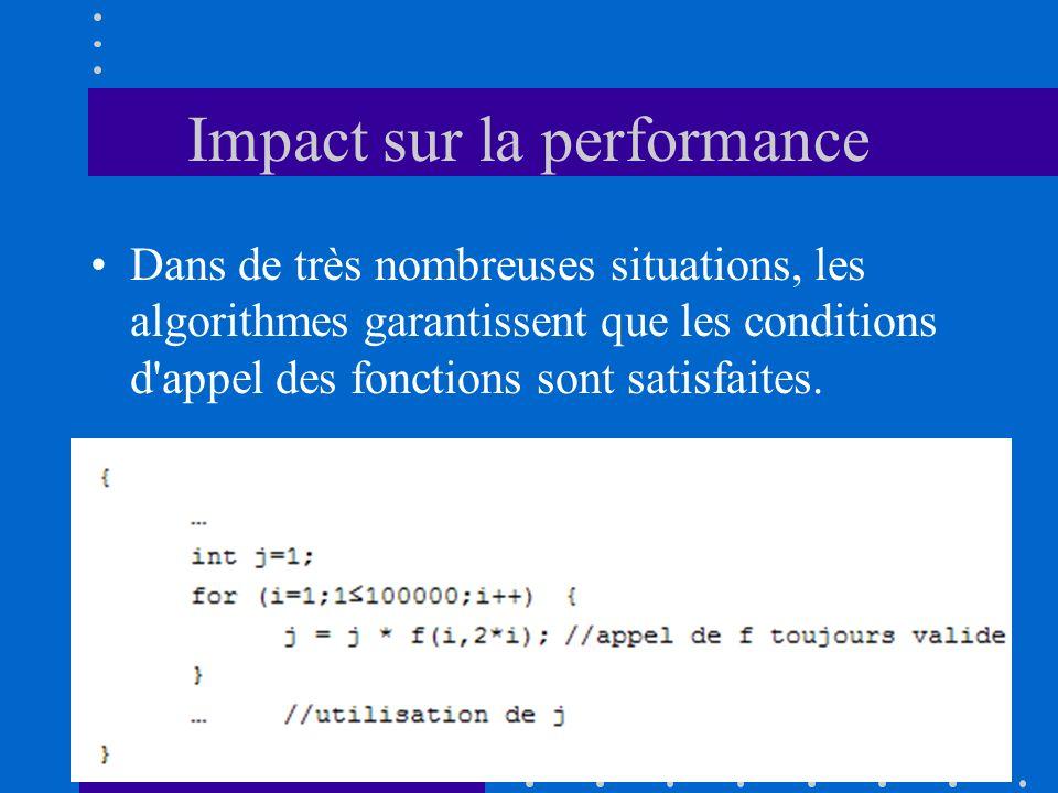 Impact sur la performance Dans de très nombreuses situations, les algorithmes garantissent que les conditions d'appel des fonctions sont satisfaites.