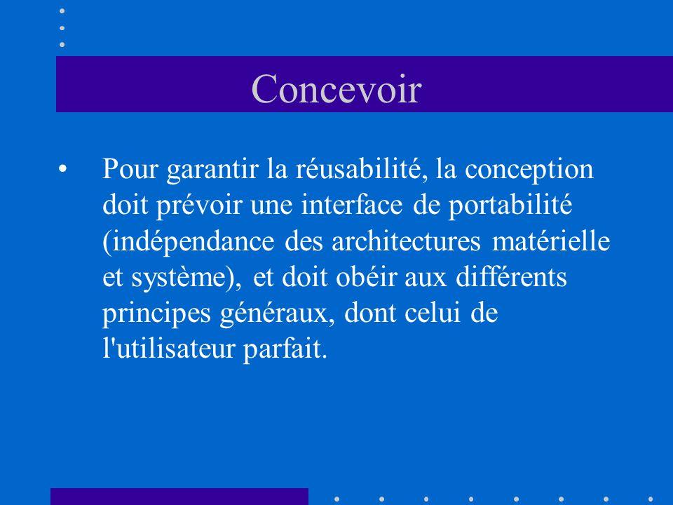 Concevoir Pour garantir la réusabilité, la conception doit prévoir une interface de portabilité (indépendance des architectures matérielle et système)