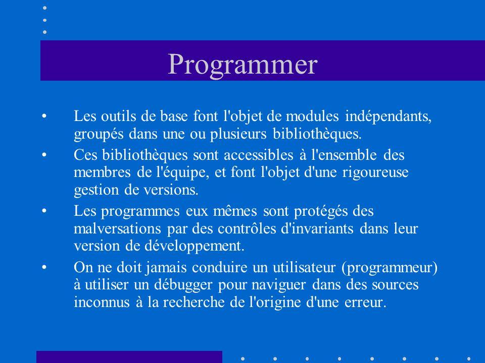 Programmer Les outils de base font l'objet de modules indépendants, groupés dans une ou plusieurs bibliothèques. Ces bibliothèques sont accessibles à