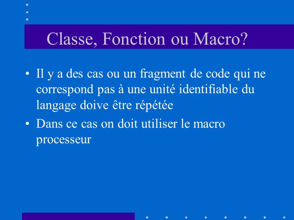 Classe, Fonction ou Macro? Il y a des cas ou un fragment de code qui ne correspond pas à une unité identifiable du langage doive être répétée Dans ce