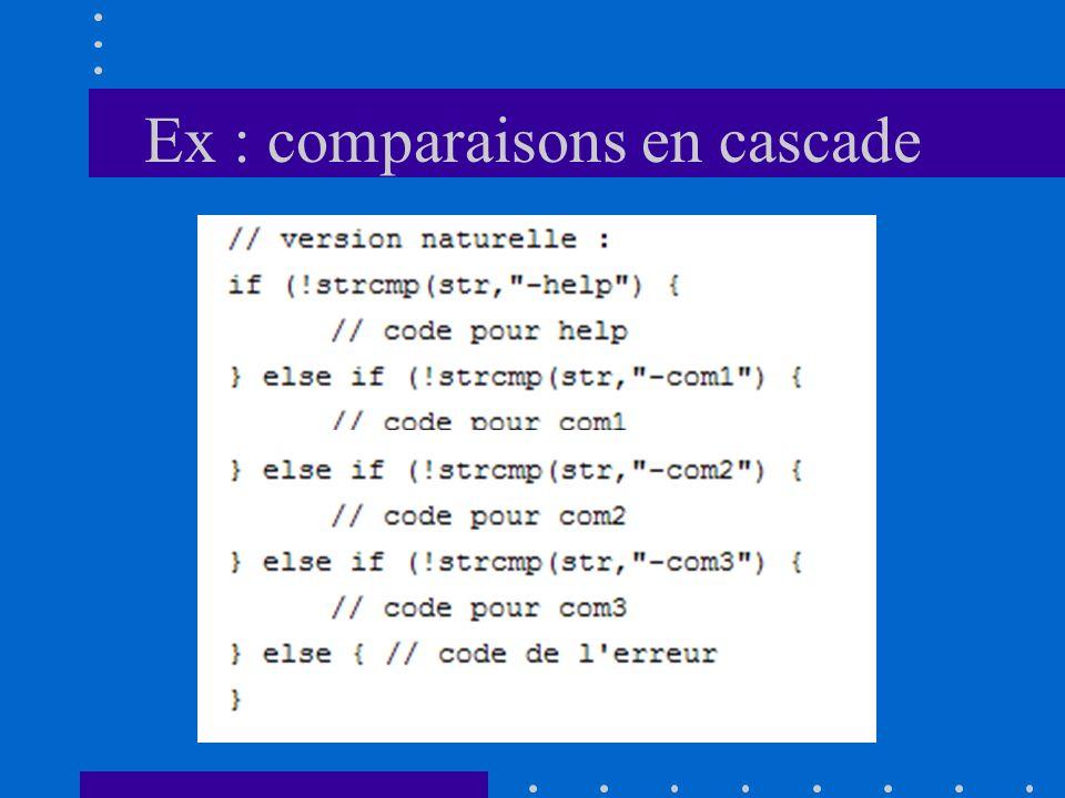 Ex : comparaisons en cascade