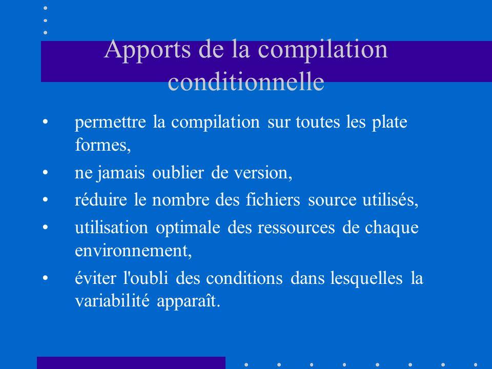 Apports de la compilation conditionnelle permettre la compilation sur toutes les plate formes, ne jamais oublier de version, réduire le nombre des fic