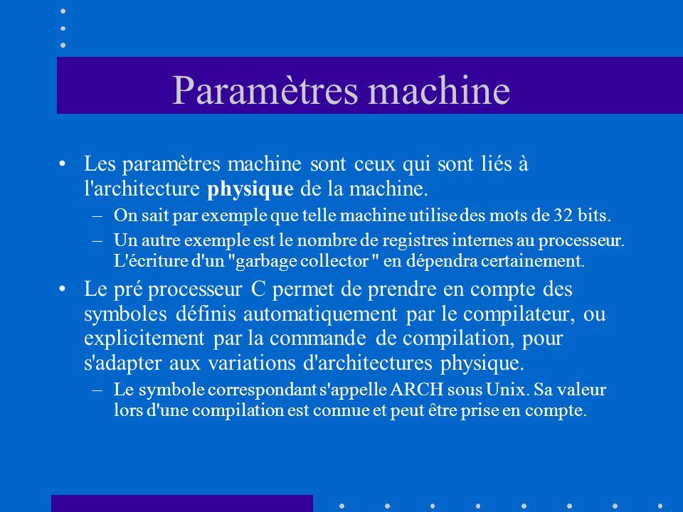 Paramètres machine Les paramètres machine sont ceux qui sont liés à l'architecture physique de la machine. –On sait par exemple que telle machine util