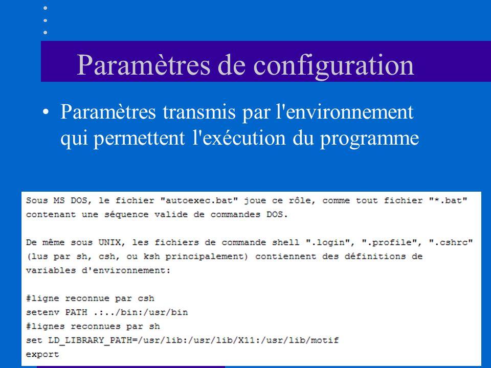 Paramètres de configuration Paramètres transmis par l'environnement qui permettent l'exécution du programme