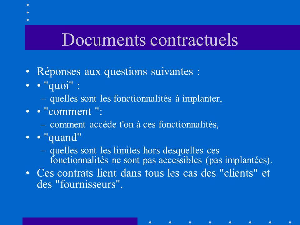 Trois niveaux fondamentaux de contrat en informatique Le plus haut niveau permet la communication entre acheteur du logiciel et prestataire, c est le cahier des charges (spécification).