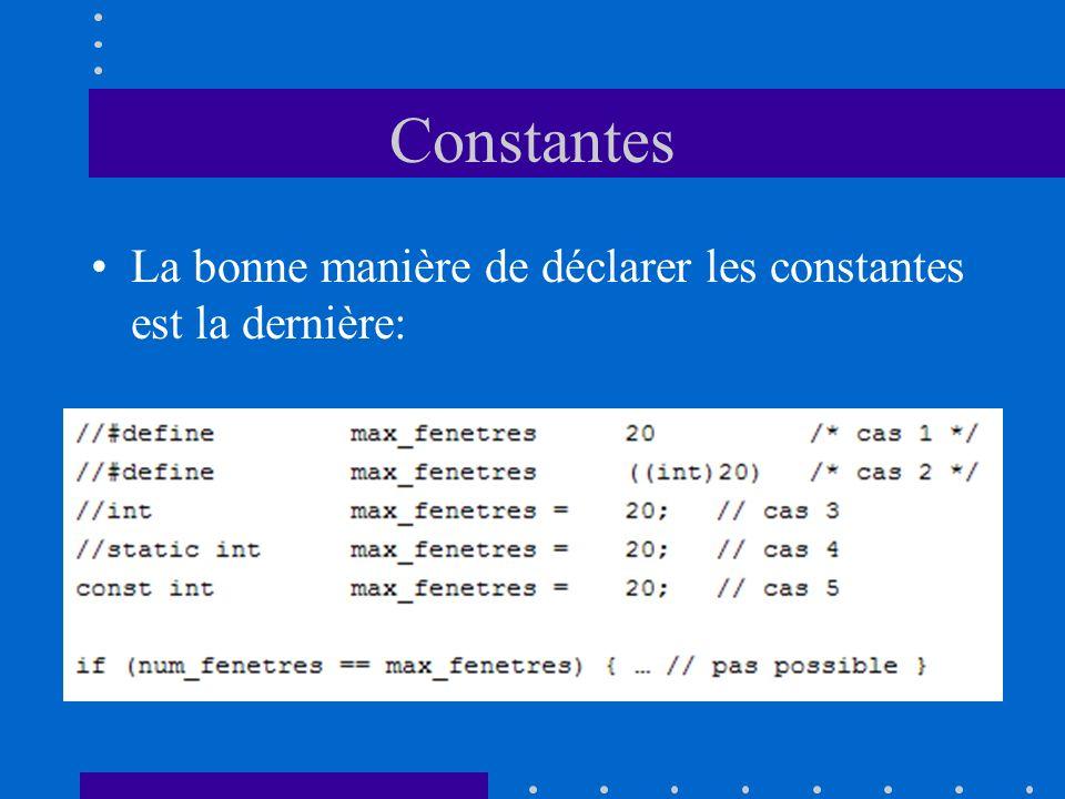 Constantes La bonne manière de déclarer les constantes est la dernière: