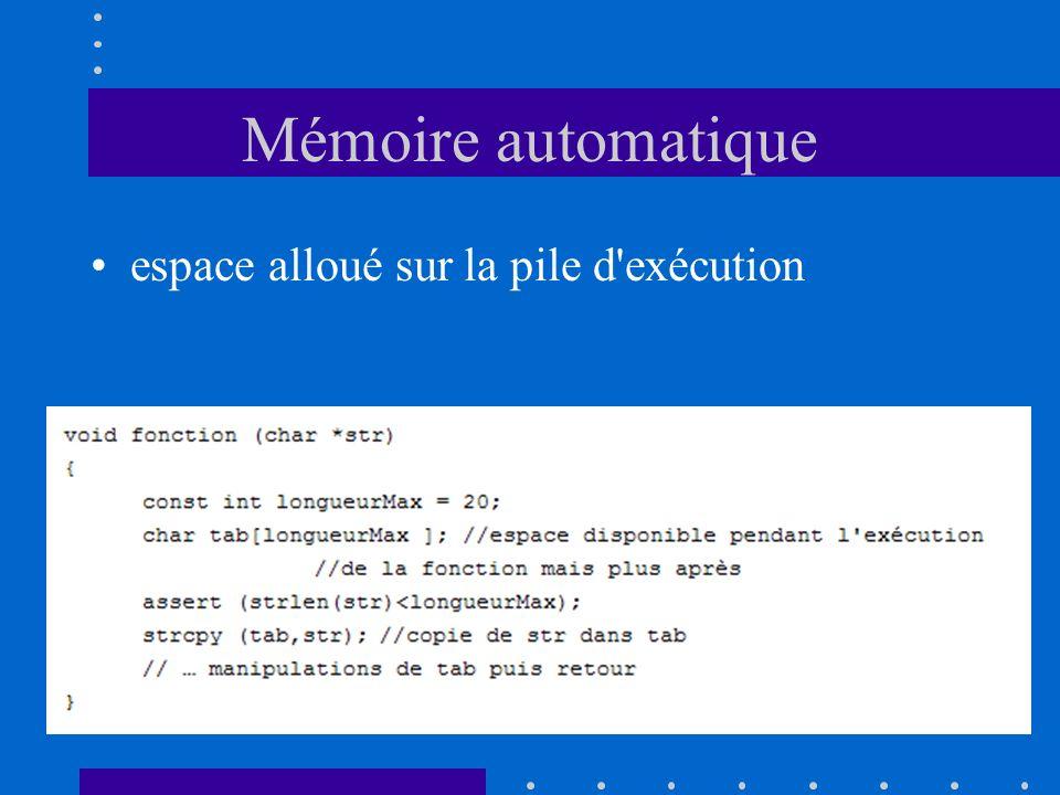 Mémoire automatique espace alloué sur la pile d'exécution