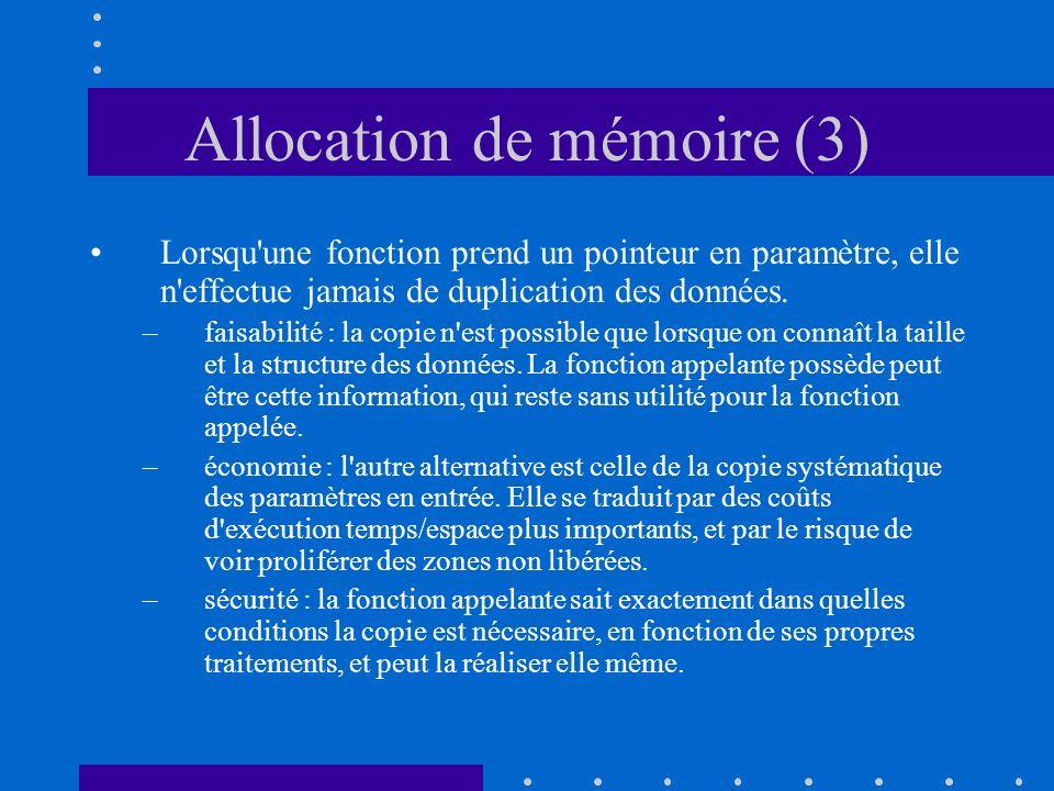 Allocation de mémoire (3) Lorsqu'une fonction prend un pointeur en paramètre, elle n'effectue jamais de duplication des données. –faisabilité : la cop