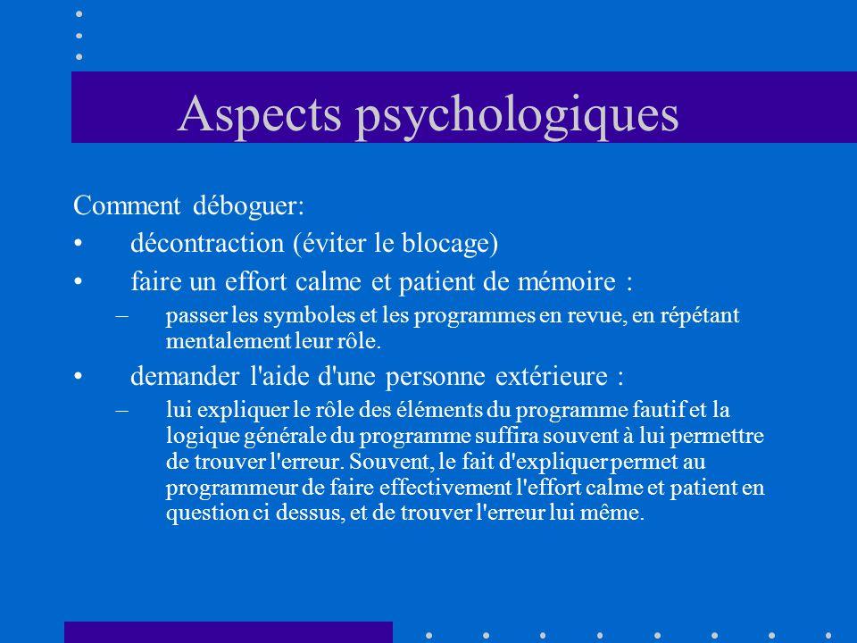 Aspects psychologiques Comment déboguer: décontraction (éviter le blocage) faire un effort calme et patient de mémoire : –passer les symboles et les p