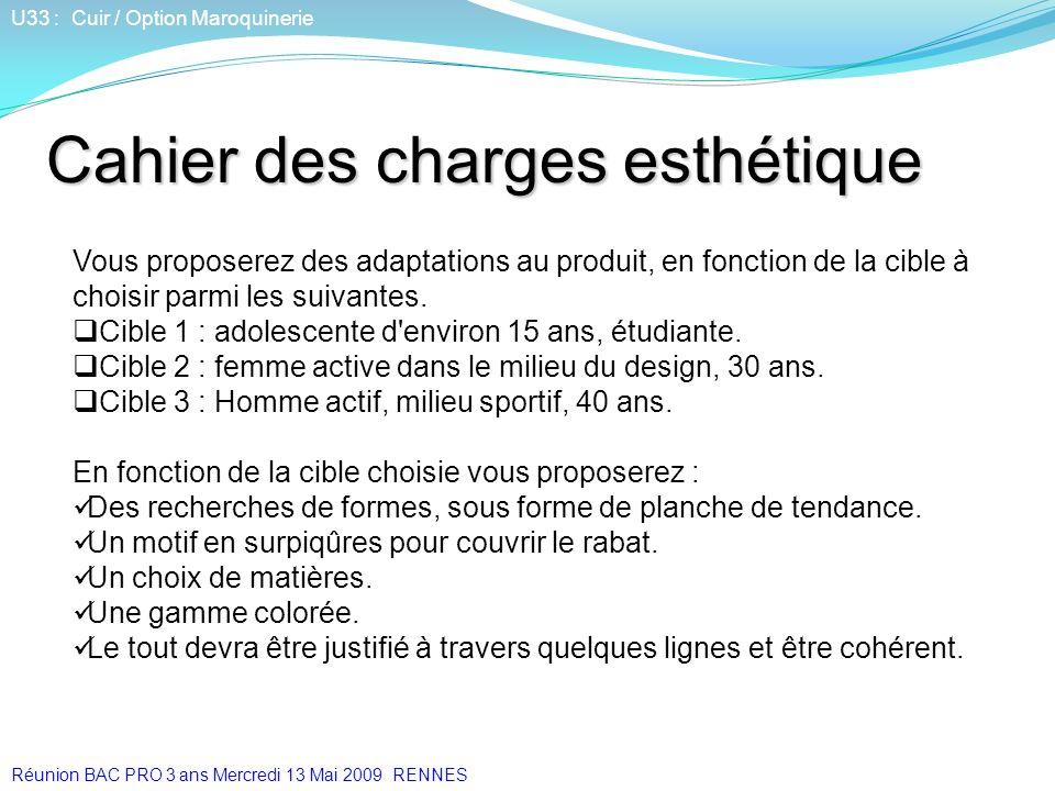 U33 : Cuir / Option Maroquinerie Vous proposerez des adaptations au produit, en fonction de la cible à choisir parmi les suivantes. Cible 1 : adolesce