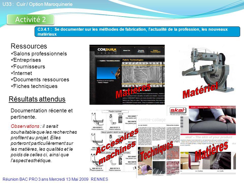 Ressources Salons professionnels Entreprises Fournisseurs Internet Documents ressources Fiches techniques Activité 2 U33 : Cuir / Option Maroquinerie