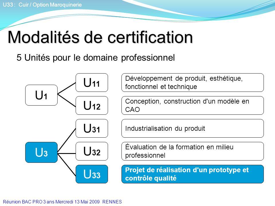 Modalités de certification 5 Unités pour le domaine professionnel U 33 U 31 U 12 Développement de produit, esthétique, fonctionnel et technique U 11 U