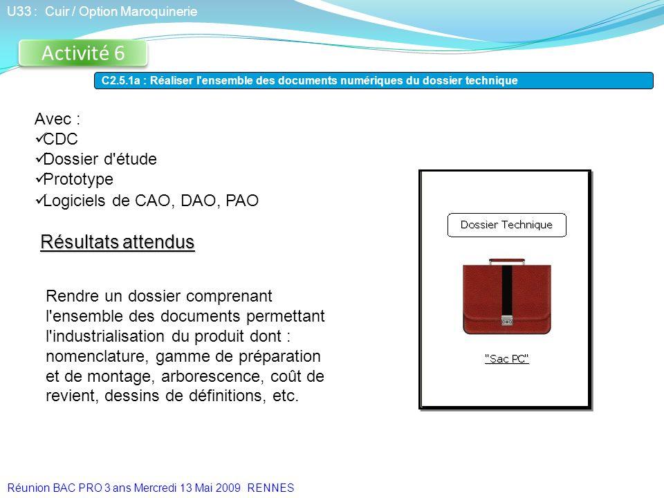 Avec : CDC Dossier d'étude Prototype Logiciels de CAO, DAO, PAO Activité 6 U33 : Cuir / Option Maroquinerie C2.5.1a : Réaliser l'ensemble des document