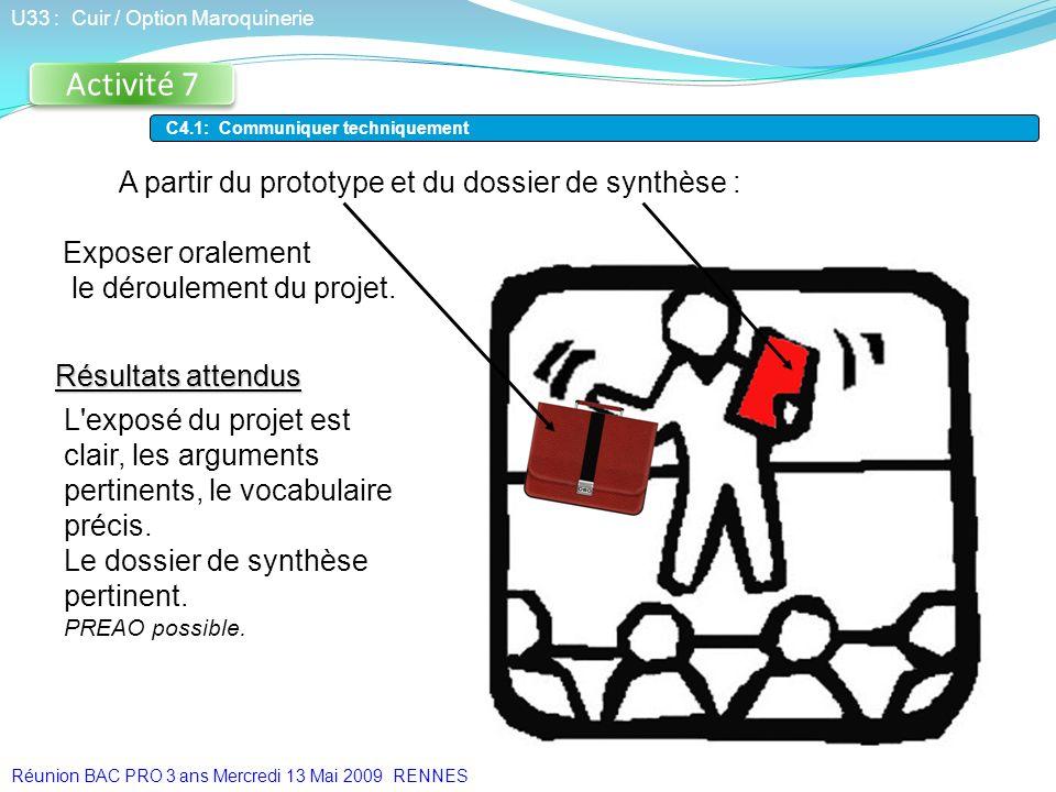 Activité 7 Résultats attendus U33 : Cuir / Option Maroquinerie C4.1: Communiquer techniquement A partir du prototype et du dossier de synthèse : Expos