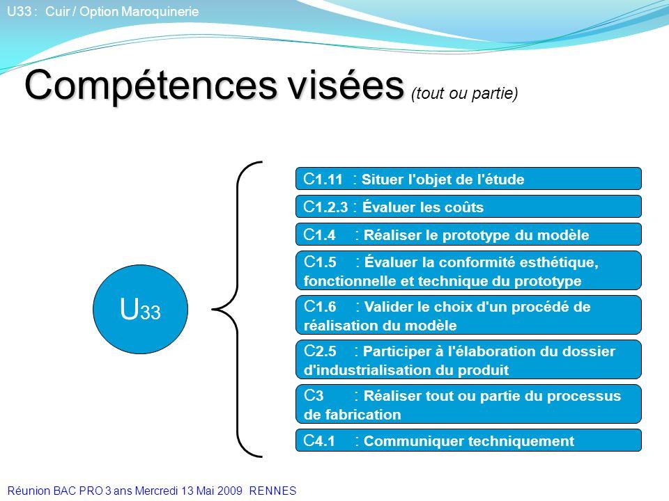 C 1.11 : Situer l'objet de l'étude U 33 Compétences visées Compétences visées (tout ou partie) U33 : Cuir / Option Maroquinerie C 1.2.3 : Évaluer les