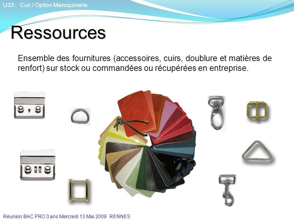Ressources Ensemble des fournitures (accessoires, cuirs, doublure et matières de renfort) sur stock ou commandées ou récupérées en entreprise. U33 : C