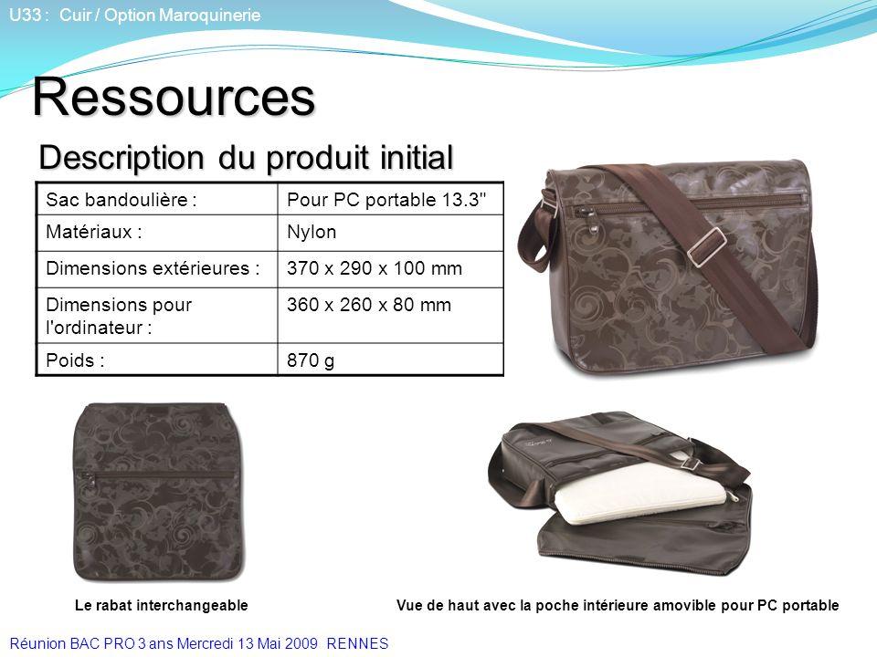Description du produit initial U33 : Cuir / Option Maroquinerie Sac bandoulière :Pour PC portable 13.3