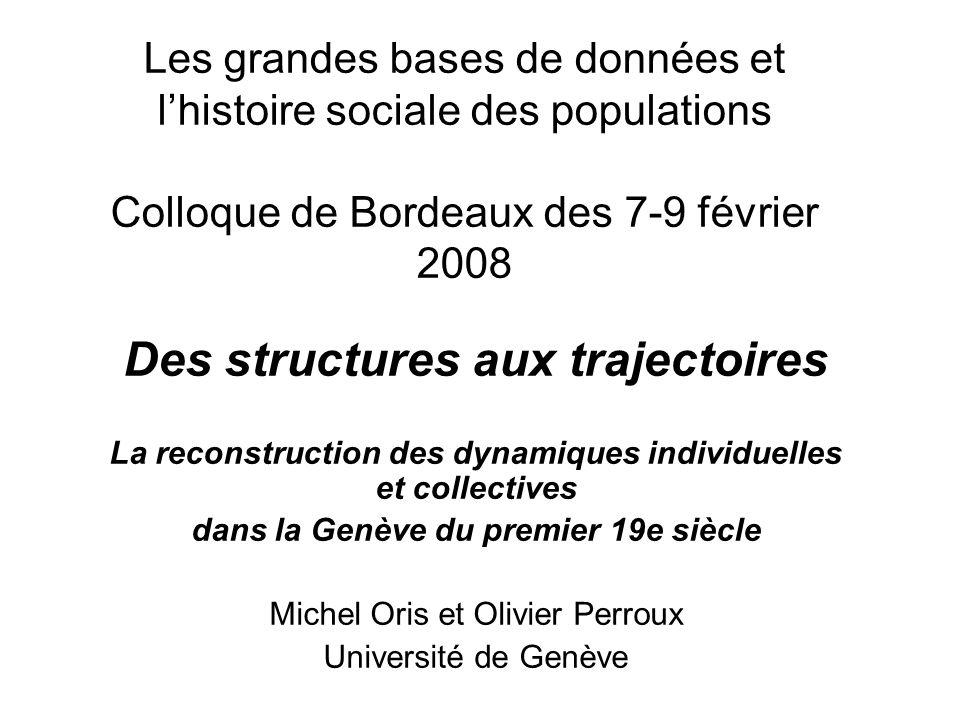 Les grandes bases de données et lhistoire sociale des populations Colloque de Bordeaux des 7-9 février 2008 Des structures aux trajectoires La reconst