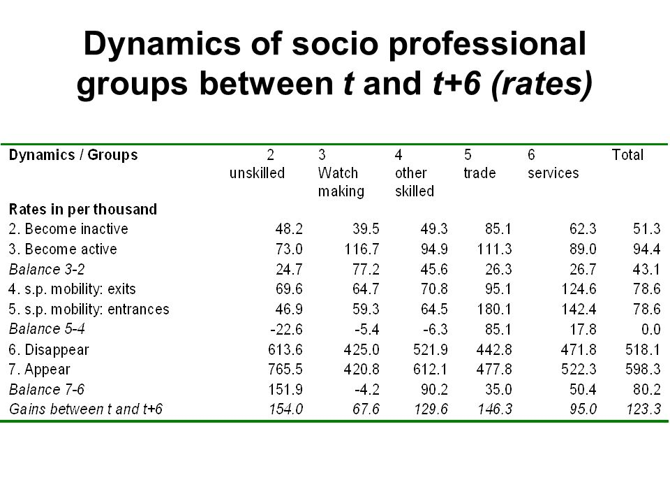 Dynamics of socio professional groups between t and t+6 (rates)