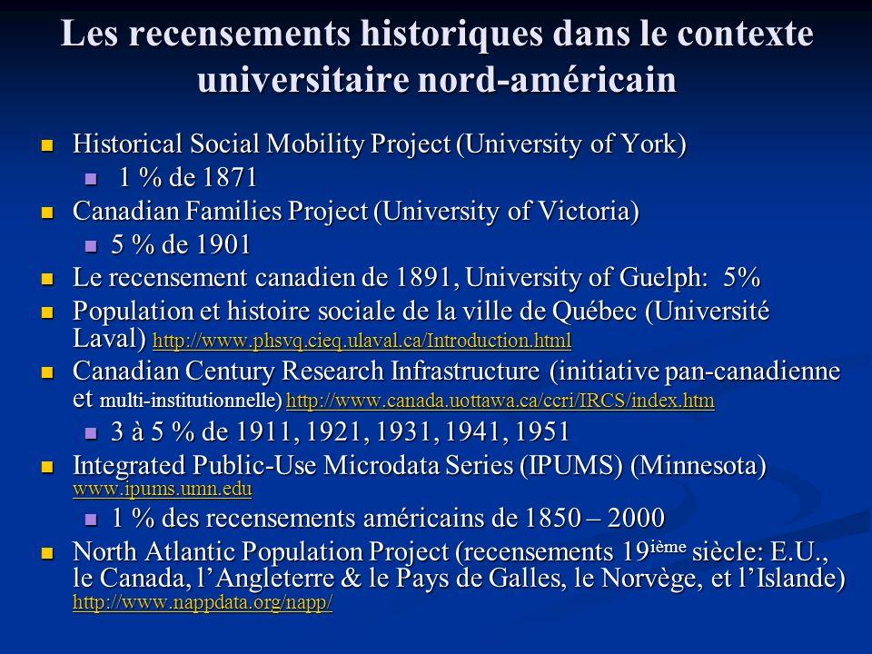 Les recensements historiques dans le contexte universitaire nord-américain Historical Social Mobility Project (University of York) Historical Social M