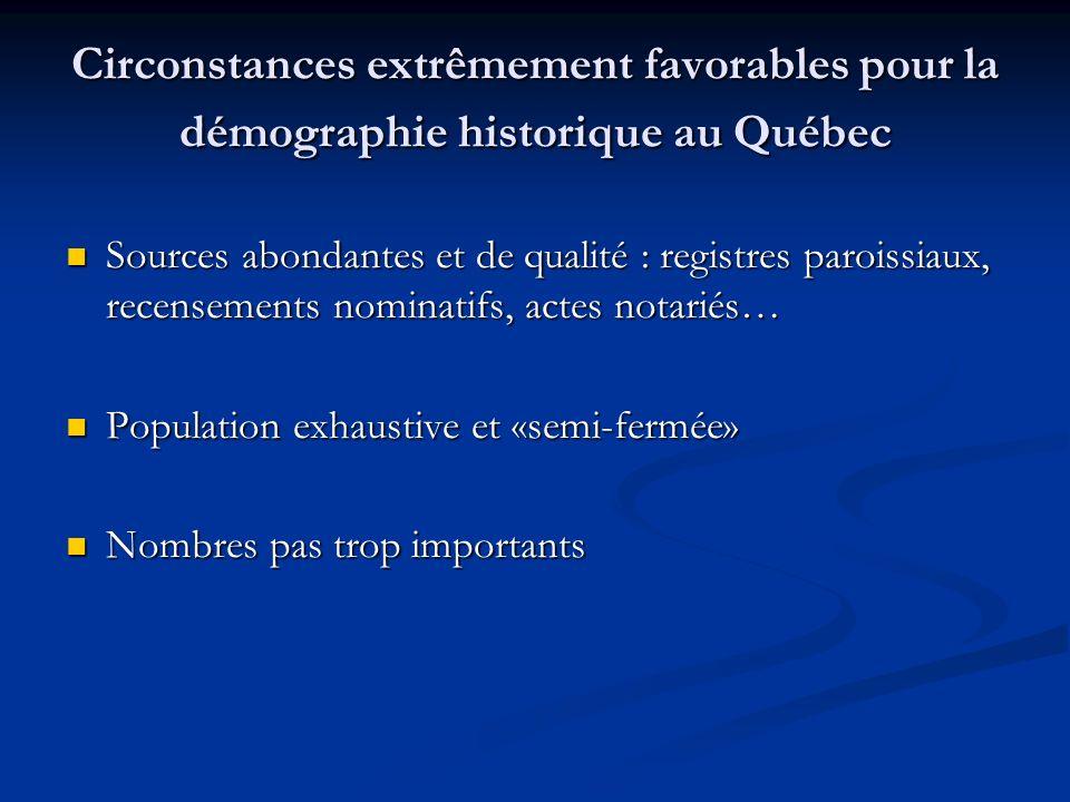 Circonstances extrêmement favorables pour la démographie historique au Québec Sources abondantes et de qualité : registres paroissiaux, recensements n