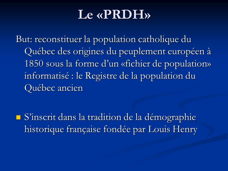 Le «PRDH» But: reconstituer la population catholique du Québec des origines du peuplement européen à 1850 sous la forme dun «fichier de population» in