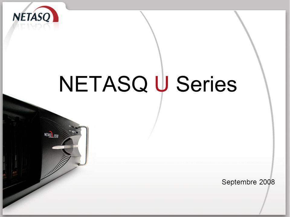 NETASQ Confidentiel 42 1 000 Mbps 600 000 225 Mbps 15 x gigabit 70 GB Débit FW+IPS: Sessions simultanées : VPN IPSEC : Interfaces : Stockage des logs : NETASQ U450