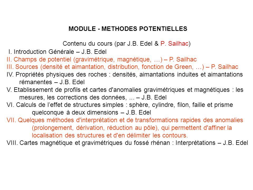 MODULE - METHODES POTENTIELLES I. Introduction Générale – J.B. Edel II. Champs de potentiel (gravimétrique, magnétique, …) – P. Sailhac III. Sources (