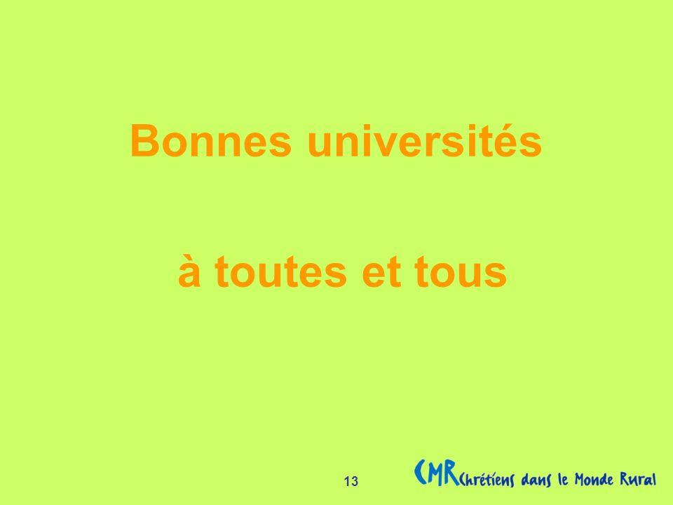 13 Bonnes universités à toutes et tous