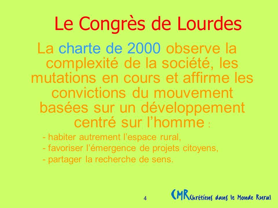 4 La charte de 2000 observe la complexité de la société, les mutations en cours et affirme les convictions du mouvement basées sur un développement centré sur lhomme : - habiter autrement lespace rural, - favoriser lémergence de projets citoyens, - partager la recherche de sens.