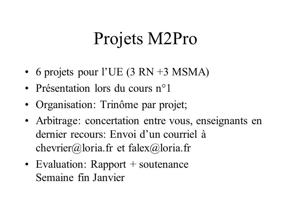 Projets M2Pro 6 projets pour lUE (3 RN +3 MSMA) Présentation lors du cours n°1 Organisation: Trinôme par projet; Arbitrage: concertation entre vous, e