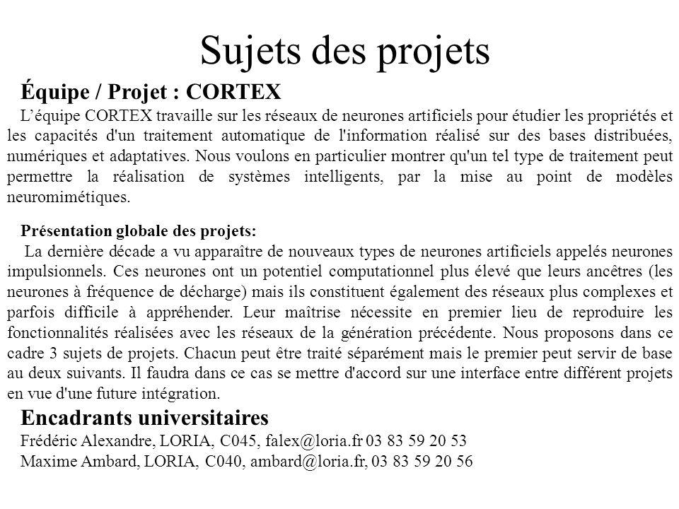 Sujets des projets Équipe / Projet : CORTEX Léquipe CORTEX travaille sur les réseaux de neurones artificiels pour étudier les propriétés et les capaci
