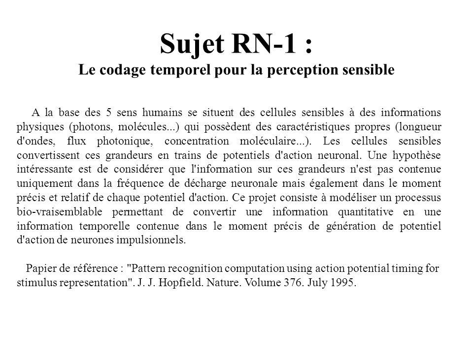Sujet RN-2 : Comparaison entre Perceptron et Tempotron De récents travaux ont présenté un nouveau type de réseau de neurone à spikes appelé Tempotron dont le fonctionnement et la règle d apprentissage sont très proches de son ancêtre le Perceptron.