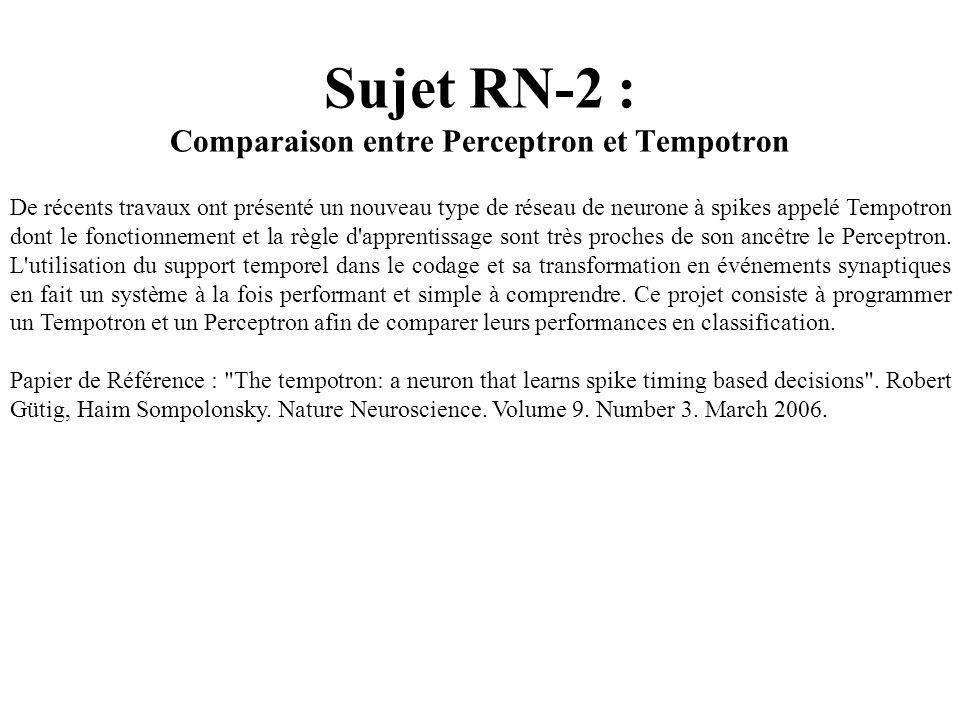Sujet RN-2 : Comparaison entre Perceptron et Tempotron De récents travaux ont présenté un nouveau type de réseau de neurone à spikes appelé Tempotron
