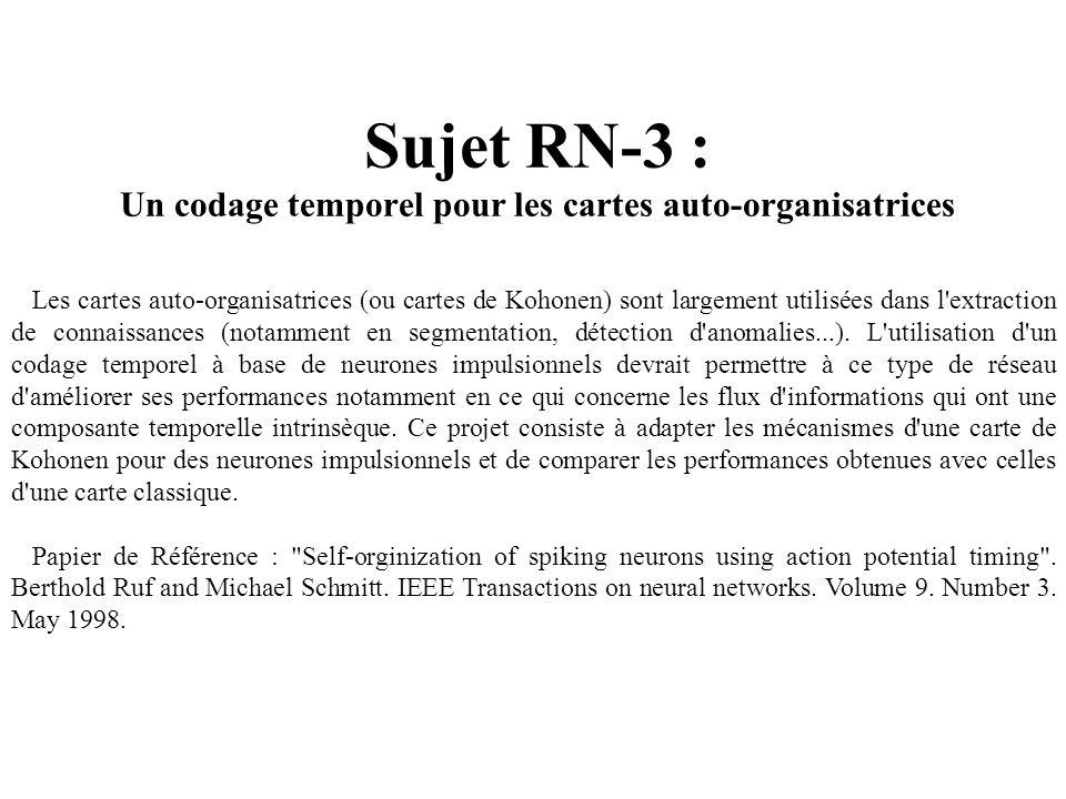 Sujet RN-3 : Un codage temporel pour les cartes auto-organisatrices Les cartes auto-organisatrices (ou cartes de Kohonen) sont largement utilisées dan