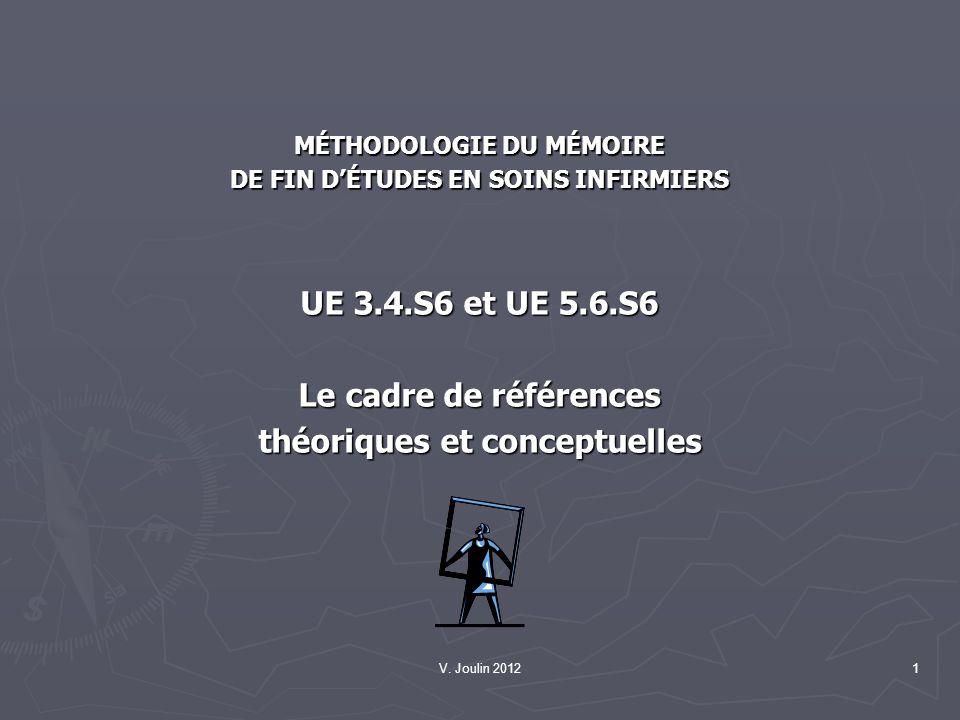 V. Joulin 20121 MÉTHODOLOGIE DU MÉMOIRE DE FIN DÉTUDES EN SOINS INFIRMIERS UE 3.4.S6 et UE 5.6.S6 Le cadre de références théoriques et conceptuelles